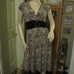 Metro Wear Brown & Tan Animal Patterned Dress L